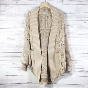ZARA Knit Nude Dolman Sleeves Oversized Cardigan M